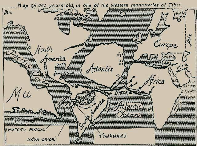 Atlantis and Mu World Map