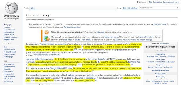 Corporatocracy Wikipedia Summary Highlights
