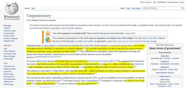 Corporatocracy Wikipedia Summary Highlights