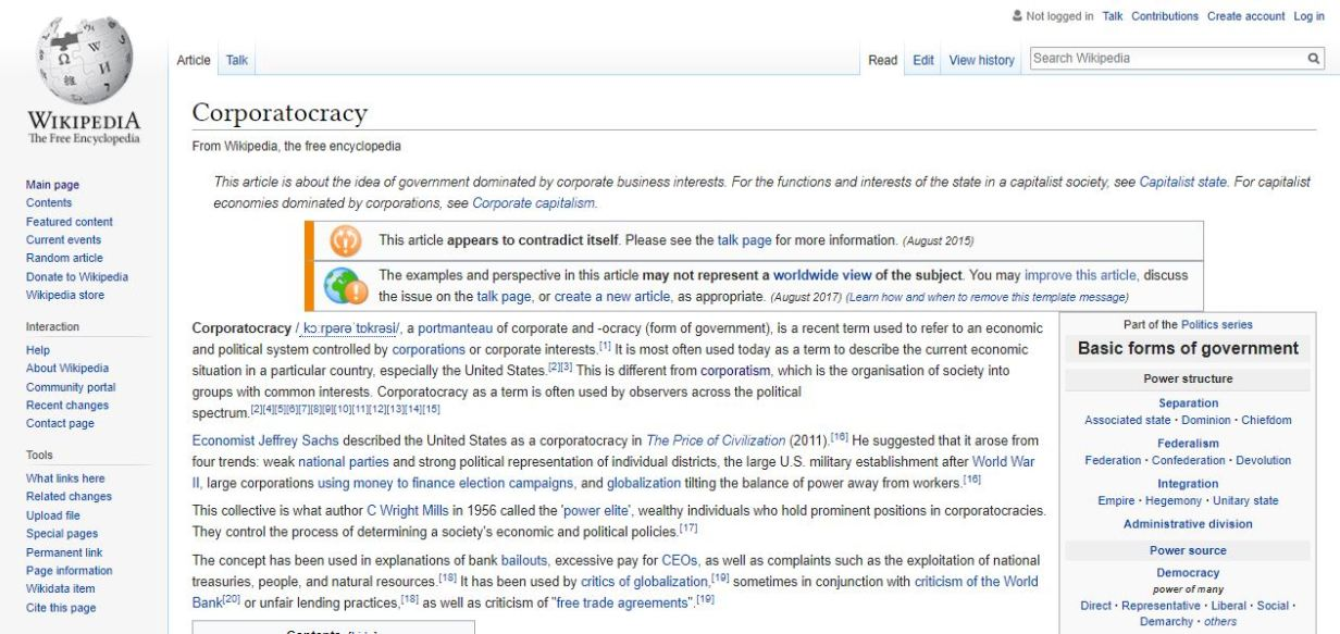 Corporatocracy Wikipedia Summary