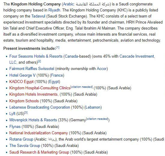 Kingdom Holding Company 1 Present