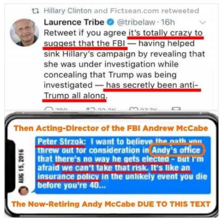 Laurence Tribe's Meme with Peter Strzok's Text Andrew Andy McCabe