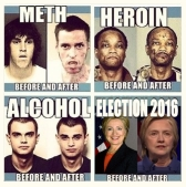 ! 4-up Before and After Election 2016 Meth Crack Hillary