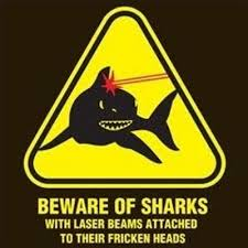 5 Sharks with Laser Beams Sign