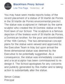 Blackfriars Priory School's statue Notice