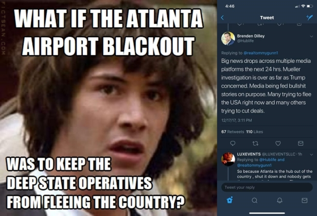 Conspiracy Keanu Atlanta Airport Blackout Deep State Operatives Tweet