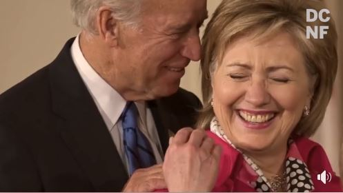 ! Creepy Uncle Joe Biden From Behind Hillary Clinton