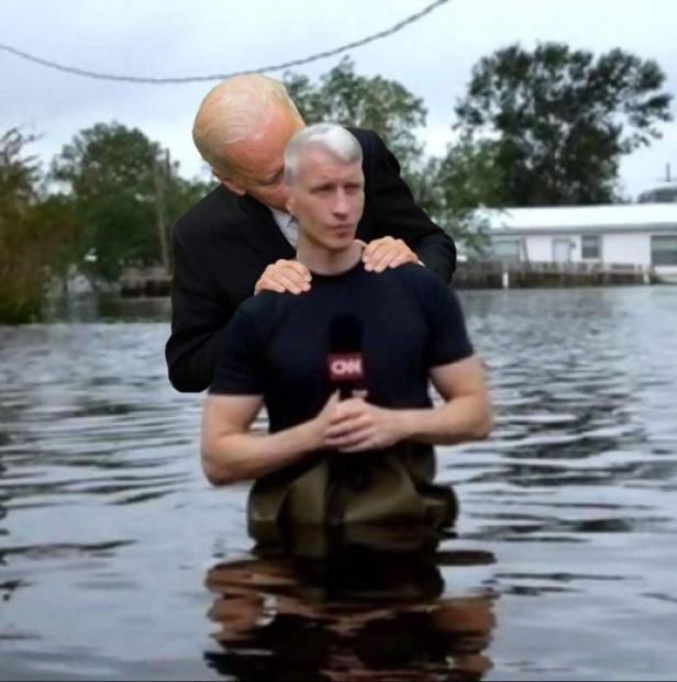 ! Creepy Uncle Joe Biden From Behind z Anderson Cooper