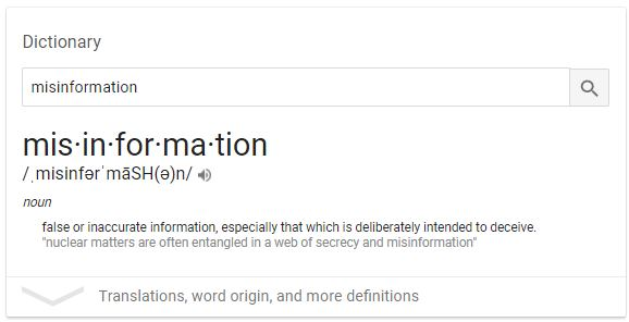 Definition Misinformation