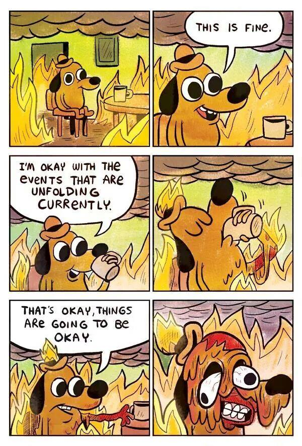 ! Dog on Fire Melting in Hell This is Fine