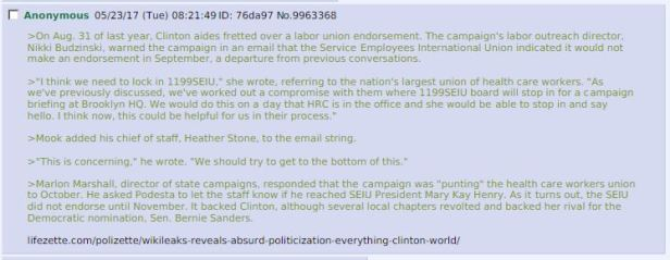 Hillary SEIU Connection Reference