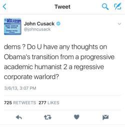 John Cusak on Obama Tweet