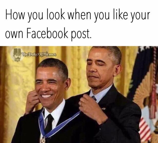 ! Obama Presenting Medal Himself Facebook