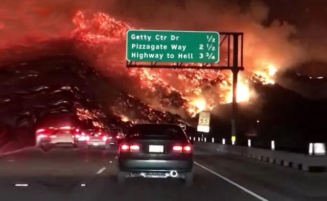 Pizzagate Higway to Hell Getty Dr SoCal Fires