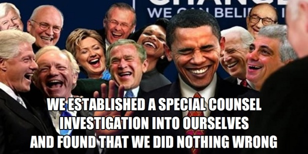 w^ 2 Laughing Politicians . Special Councel Investigated Ourselves