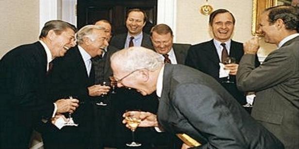 w^ 5 Laughing Politicians .Reagan Era