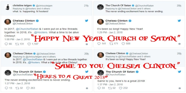 Chelsea Clinton Church of Satan Chrissy Tiegen Happy New Year Tweets BANNER