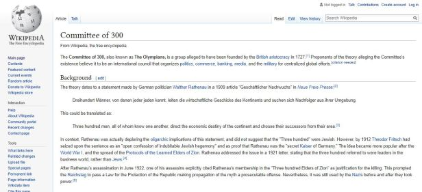 Committee of 300 Wikipedia
