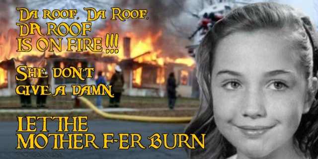 Disaster Girl Hillary Burning Down the House on Fire BANNER