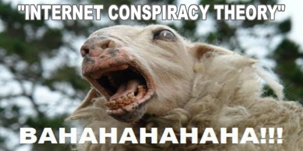 Internet Conspiracy Theory Sheep Goat Laughing Bahahahahaha