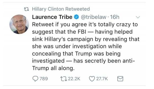 Lawrence Tribe Hillary Apologist Tweet