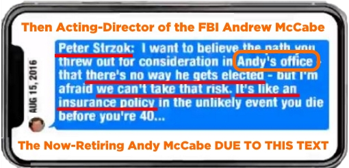 Peter Strzok Insurance Text Andy McCabe Call Out