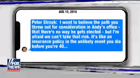 Peter Strzok Insurance Text to Lisa Page referencing Andy McCabe
