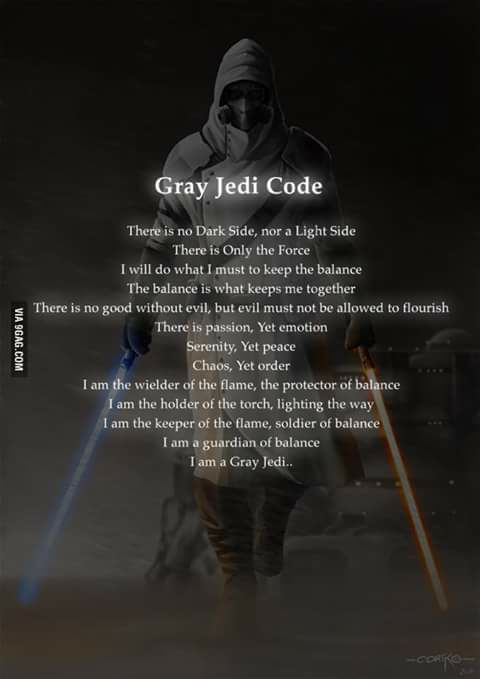 ! Star Wars Jedi Djedi The Grey Jedi Code Gray