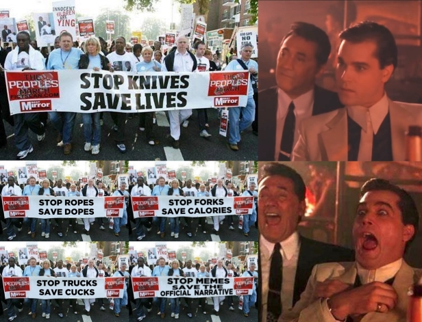 ! Stop ! Knives Save Lives Good Fellas Collage Ray Liotta Laughing