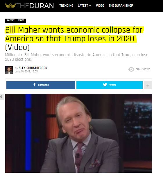 ! 180611 Bill Mahrer wants Economic Collapse so Trump loses in 2020