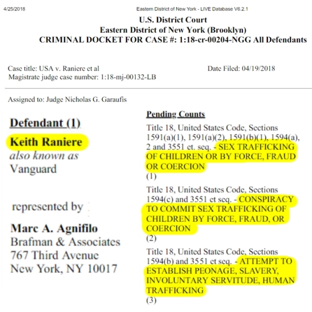 180626 Charges against Keith Reinere and NXIVM MEME