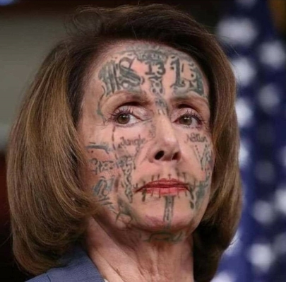 ! Nancy Pelosi MS-13 MS13 Facial Face Tattoos Tats