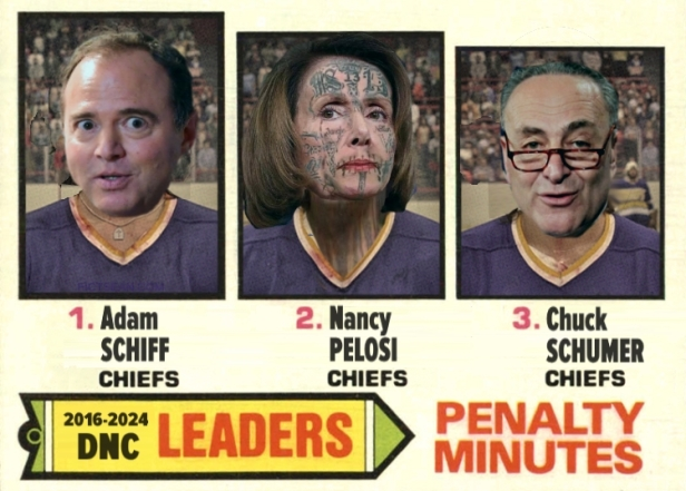 Three Blind Mice Schiff Pelosi Schumer Hanson Brothers Chiefs Slap Shot Trading Card Faces
