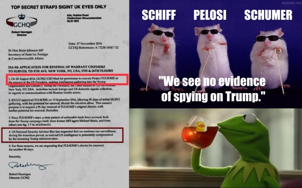 ! Three Blind Mice Schiff Pelosi Schumer No Evidence of Spying on Trump MI6 Kermit