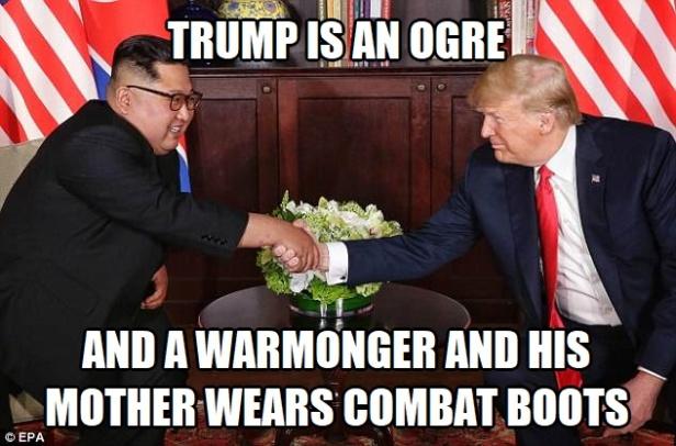 ! Trump Kimg Jong-Un Ogre Warmonger Mother Wears Combat Boots