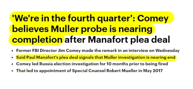 180920 Comey says Mueller Probe is nearing End Manafort Plea Deal