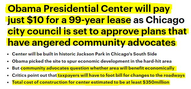 180920 Obama Presidential Center Chicago $10 Lease 99 years