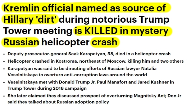 181005 Russian who had dirt for Hillary's Dirty Dossier Dies in Helicopter Crash HL