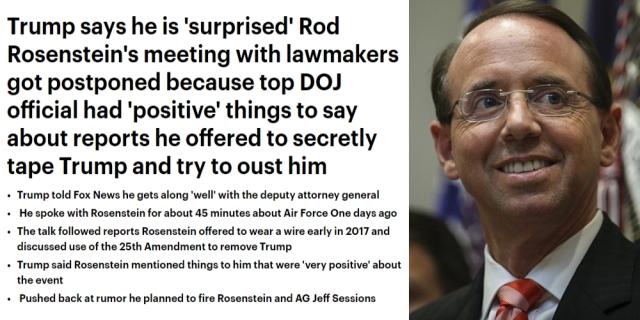 181011 Trump SURPRISED Rosenstein meeting postponed