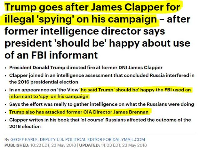 180523 Trump goes after Clapper