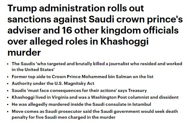 181115 Sanctions against Saudi Arabians for Kashoggi does NOT include MBS
