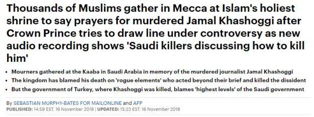 181116 Saudi Killers discussed ways to kill Kashoggi, Turkey says Top Levels Knew