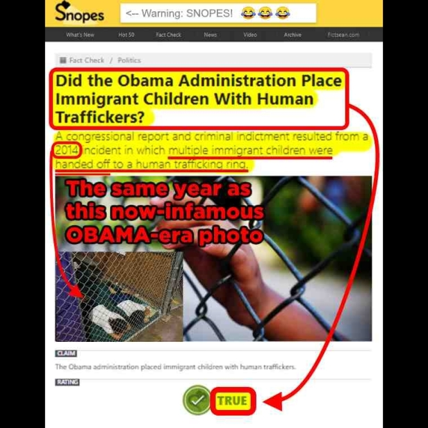.5 Snopes Concludes Obama Administration sent immigrant children to child traffickers TWITTER