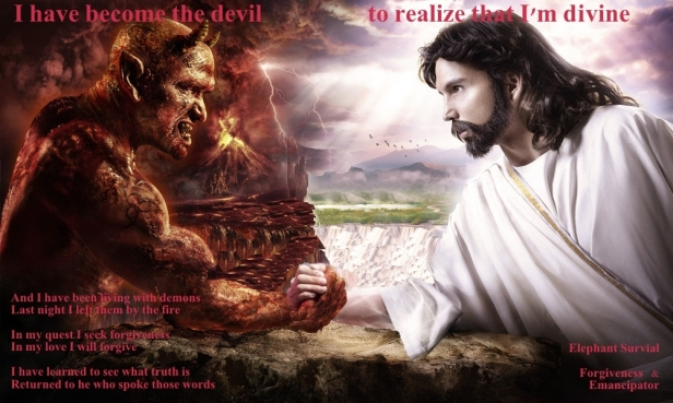 ! I Have Become the Devil to Know That I'm Divine Satan Jesus Hand Shake