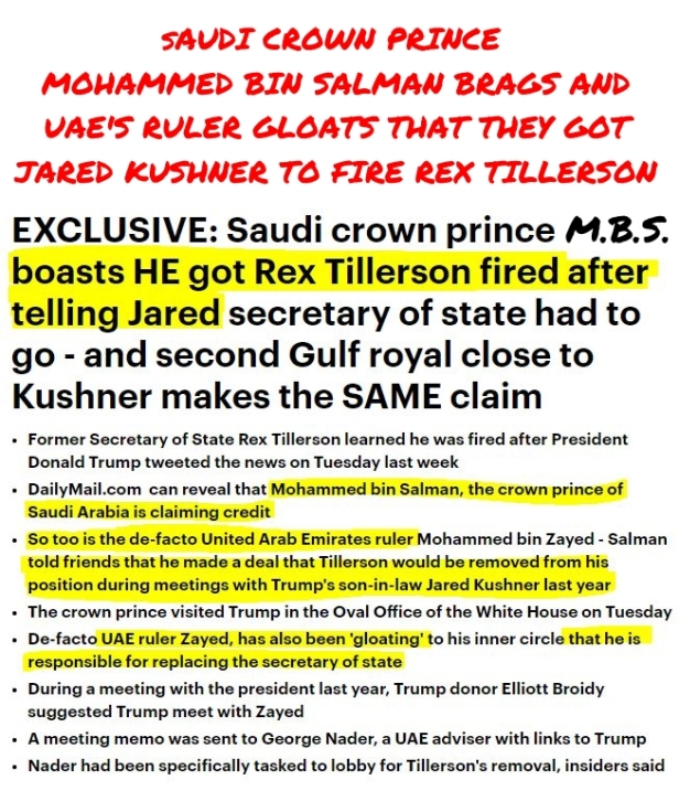 MBS and other Prince claim MBS had Jared remove Tillerson HL with Headline