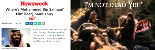 Mohammed bin Salman I'm Not Dead Yet Monty Python2