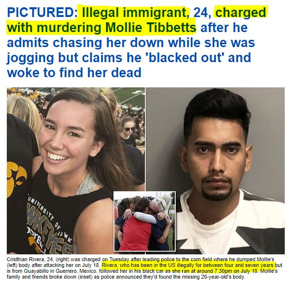 180821 Mollie Tibbets Murdered by Illegal Immigrant