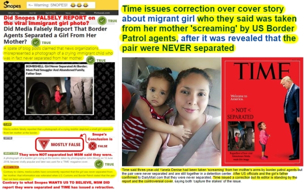 .3 Snopes Concludes Immigrant Girl Separarted from Mother Meme No Time