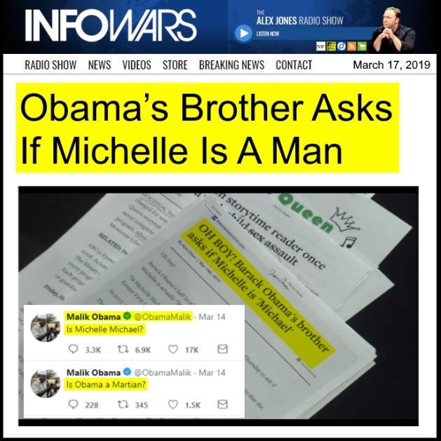 ! 190318 Alex Jones Infowars Obama's Brother Asks if Michelle is a Man HL