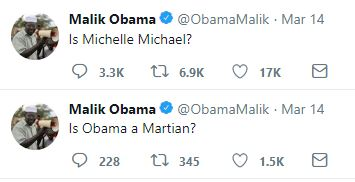 ! 190318 Malik Obama's Brother Asks if Michelle is a Man Alien